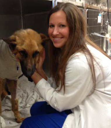 Riverside Veterinary Clinic Vet Nurse with Recovering Dog