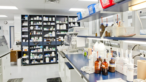 Medicine shelves at Riverside Veterinary Clinic